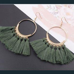 Jewelry - 🆕COMING SOON- The Vivi Boho Green Fringe Earring